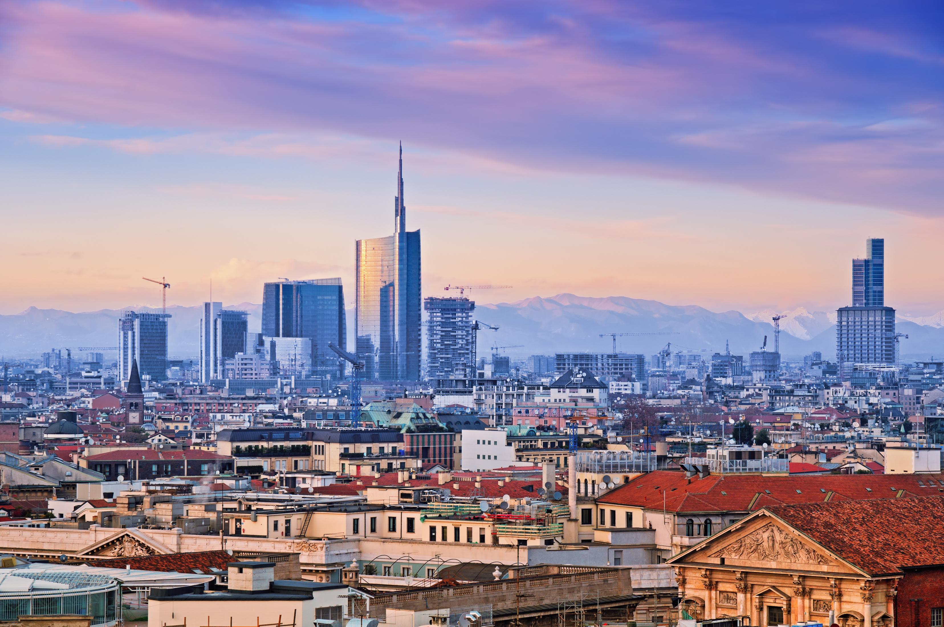 "Milan skyline from ""Duomo di Milano"". Italy."